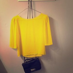 American Apparel neon bright yellow silk top